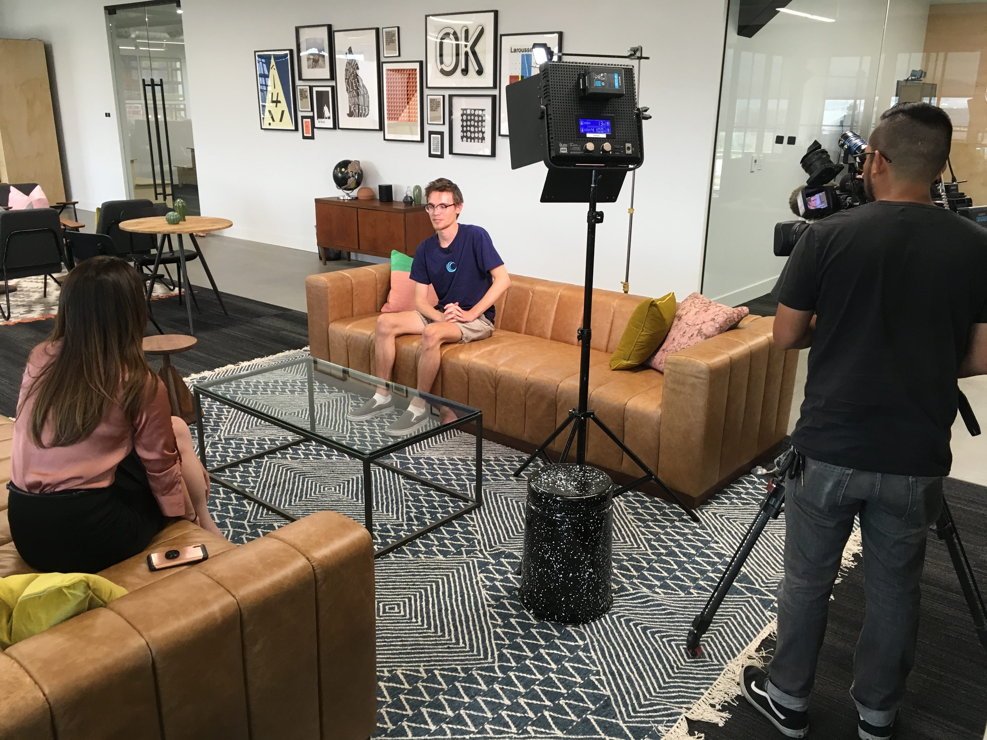 Pyramid Security founder Halston van der Sluys being interviewed by a local news station